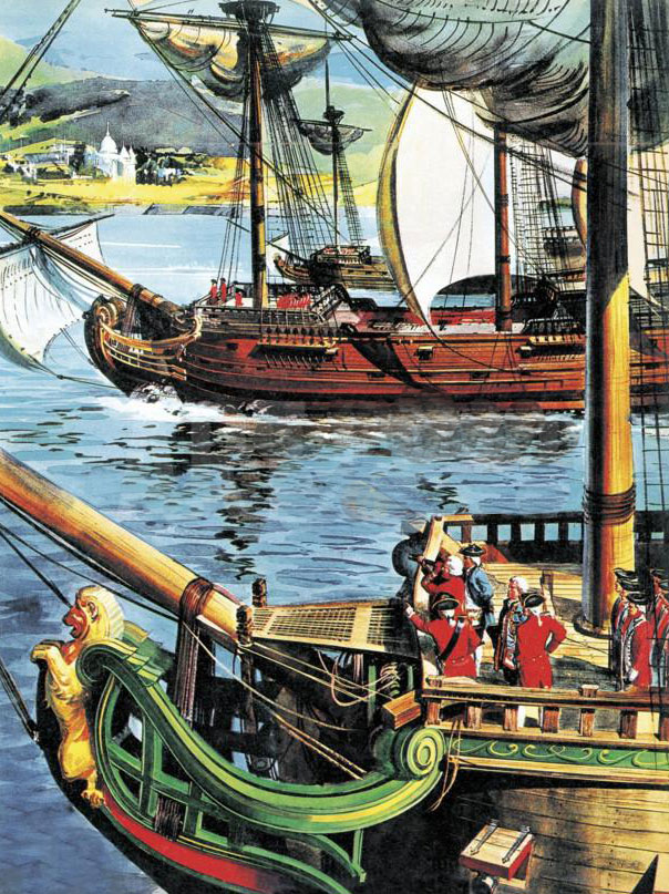 Clive sails up the Bay of Bengal to the Ganges River to recapture Calcutta: Battle of Plassey on 23rd June 1757 in the Anglo-French Wars in India