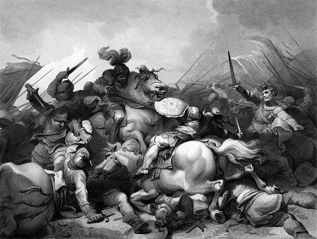 Battle of Bosworth Field on 22nd August 1485 in the Wars of the Roses: picture by Philip James de Loutherbourg