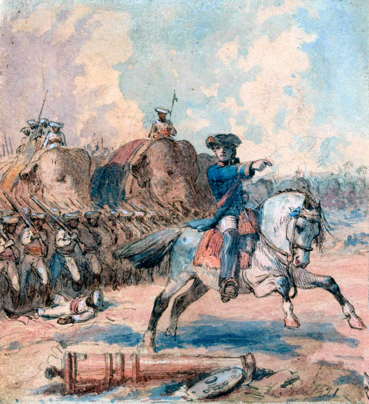 Clive at the Battle of Plassey on 23rd June 1757 in the Anglo-French Wars in India: picture by William Heath