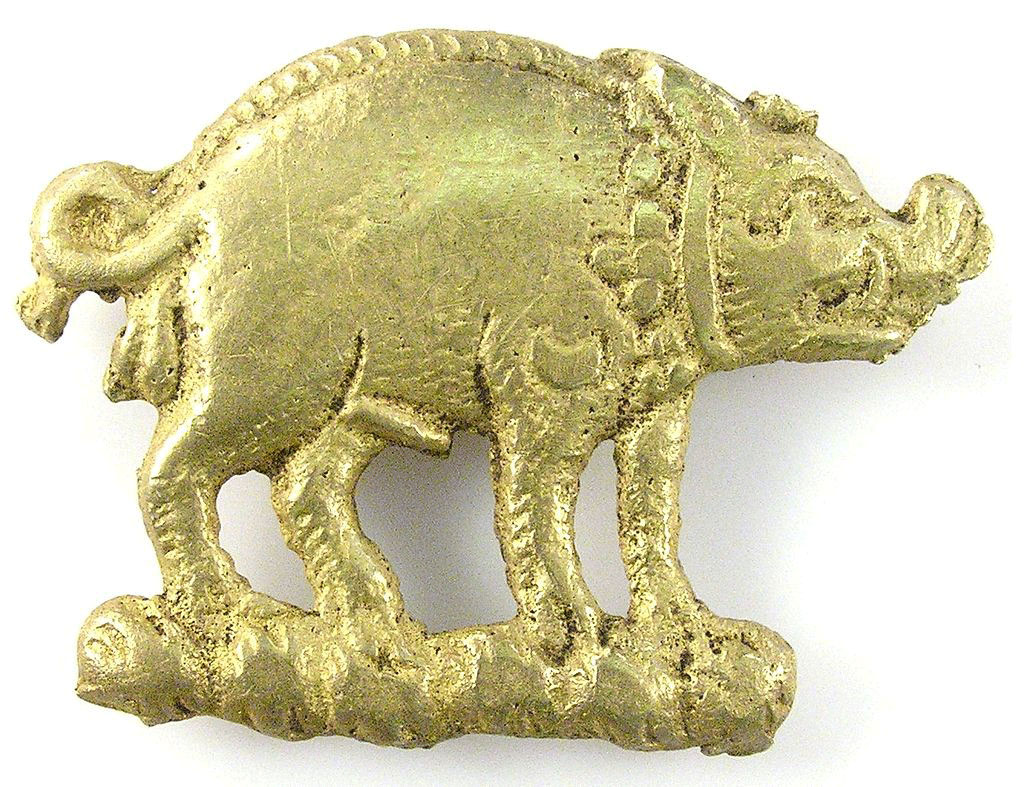 Boar badge found on the battlefield of the Battle of Bosworth Field on 22nd August 1485 in the Wars of the Roses