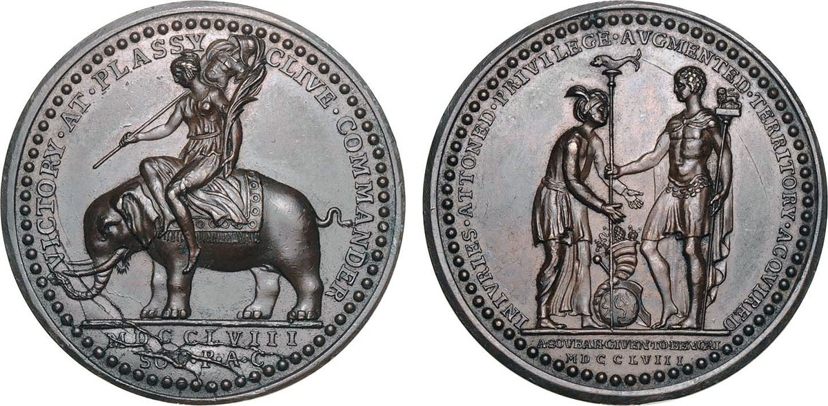 Medal commemorating the Battle of Plassey on 23rd June 1757 in the Anglo-French Wars in India