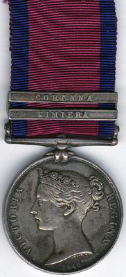 Military General Service Medal 1848 with clasp for 'Vimiera': Battle of Vimeiro on 21st August 1808 in the Peninsular War
