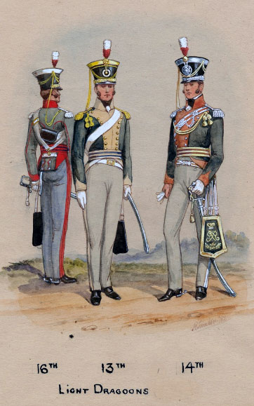 British 16th, 13th and 14th Light Dragoons: Battle of Orthez on 27th February 1814 in the Peninsular War