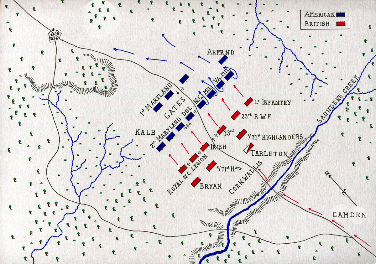 Map of the Battle of Camden on 16th August 1780 in the American Revolutionary War: map by John Fawkes