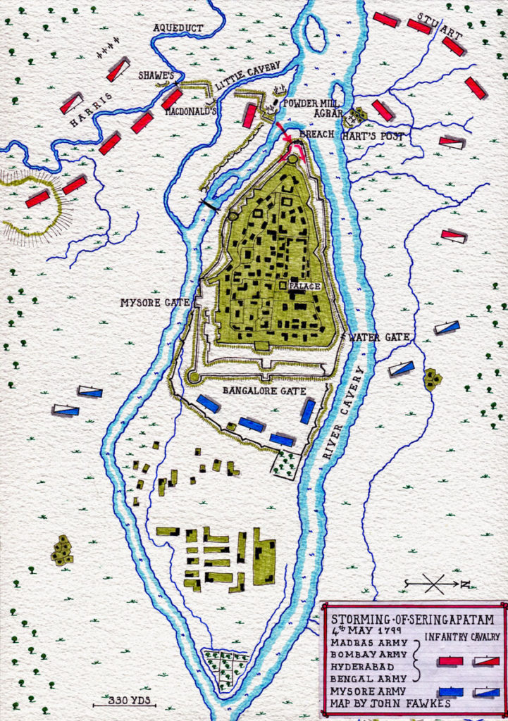 Map of the Storming of Seringapatam on 4th May 1799 in the Fourth Mysore War: map by John Fawkes