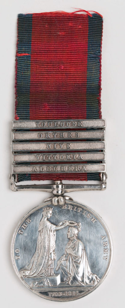 Military General Service Medal 1848 with clasp for Orthez, awarded to a soldier of the 13th Light Drgoons: Battle of Orthez on 27th February 1814 in the Peninsular War