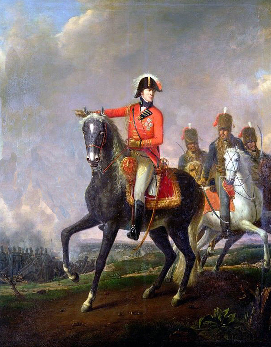 Lord Wellington with British Hussars: Battle of Orthez on 27th February 1814 in the Peninsular War