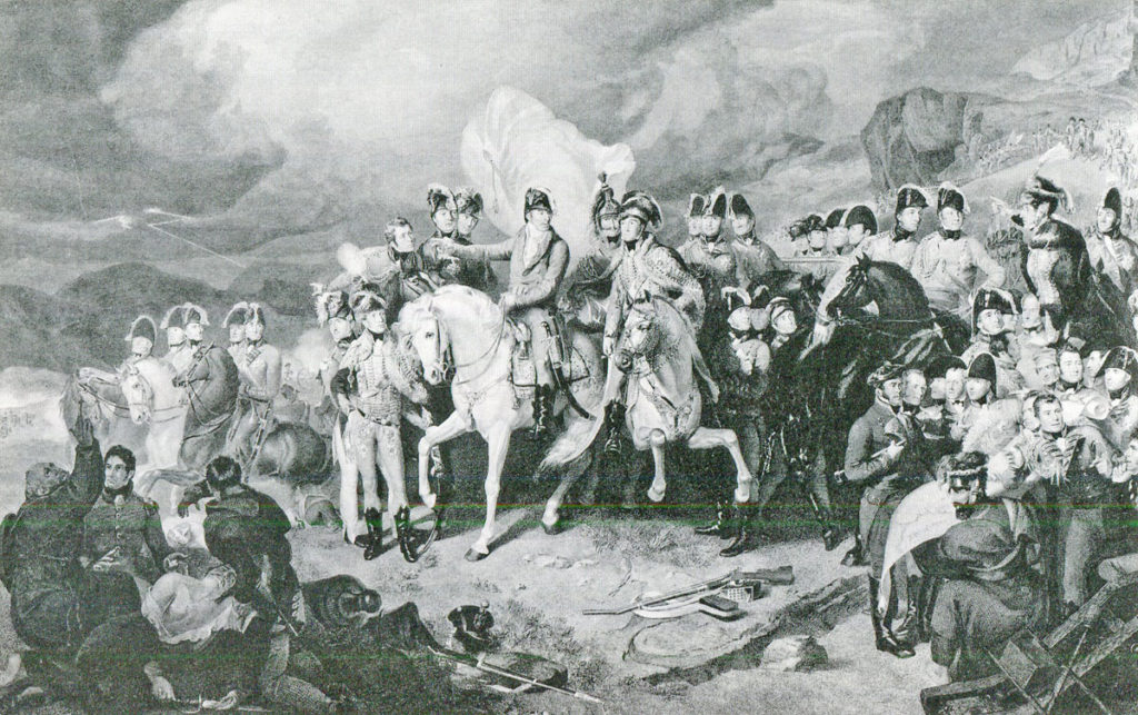 Wellington and his staff on the Great Rhune during the Battle of the Nivelle on 10th November 1813 during the Peninsular War