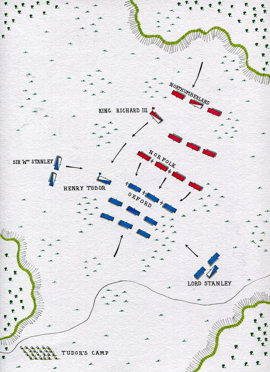 Map of the Battle of Bosworth Field on 22nd August 1485 in the Wars of the Roses: map by John Fawkes