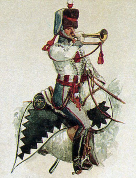 Trumpeter, British 18th Hussars: Battle of Toulouse on 10th April 1814 in the Peninsular War: picture by Richard Simkin