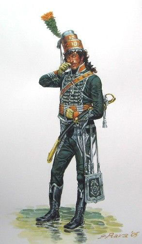 Officer of the French 21st Chasseurs à Cheval: Battle of Toulouse on 10th April 1814 in the Peninsular War