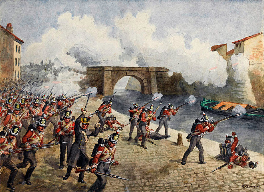 British 27th Regiment at the  Battle of Toulouse on 10th April 1814 in the Peninsular War: picture by Richard Simkin