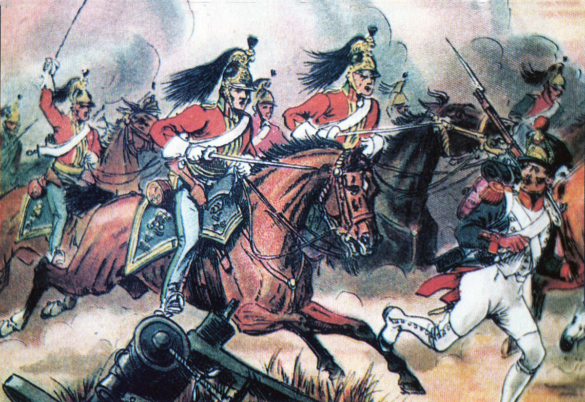 British 5th Dragoon Guards at the Battle of Salamanca on 22nd July 1812 during the Peninsular War, also known as the Battle of Los Arapiles or Les Arapiles: picture by Richard Simkin
