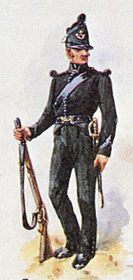 Rifleman, 95th Rifles: Battle of Tarbes on 20th March 1814 in the Peninsular War: picture by Richard Simkin