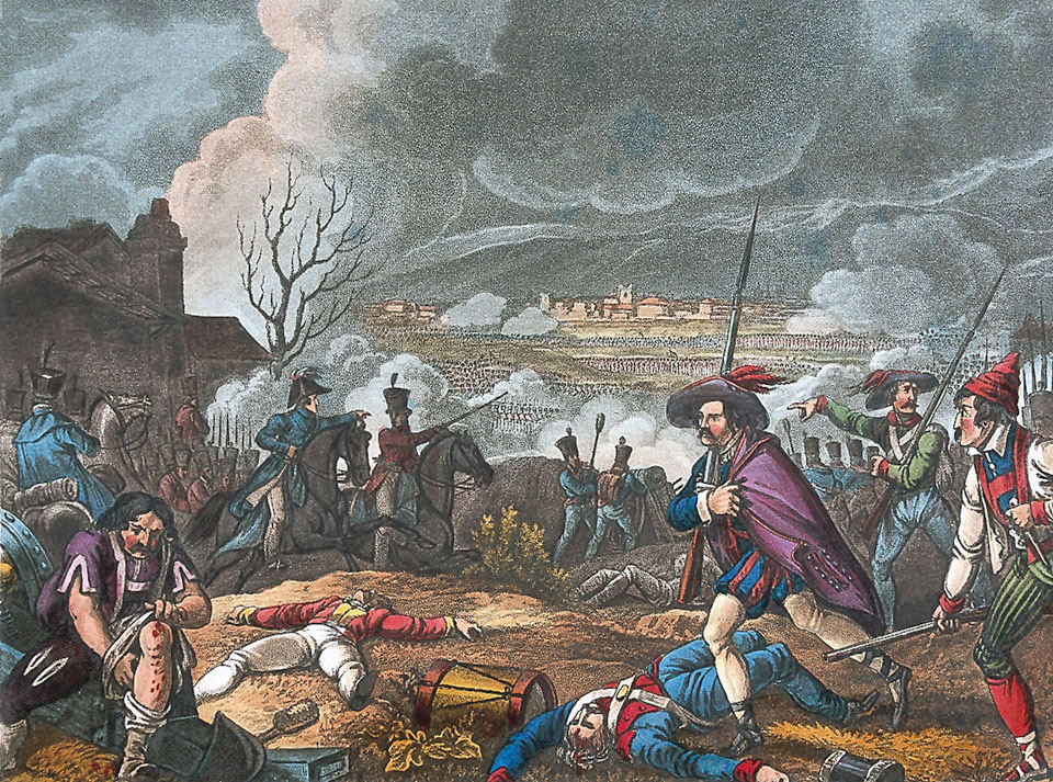 Spanish attack at the Battle of Toulouse on 10th April 1814 in the Peninsular War