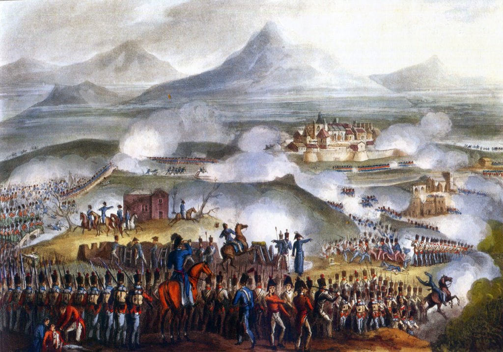 Battle of Toulouse on 10th April 1814 in the Peninsular War: picture by J.J. Jenkins