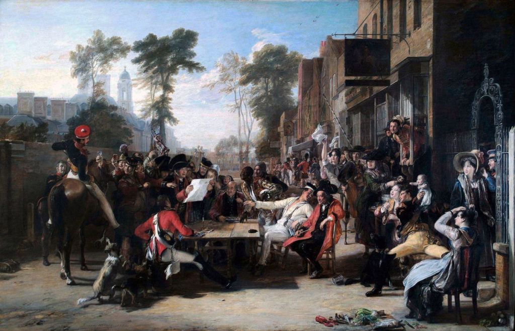 Chelsea Pensioners reading the Waterloo Despatch after Battle of Waterloo on 18th June 1815: picture by David Wilkie
