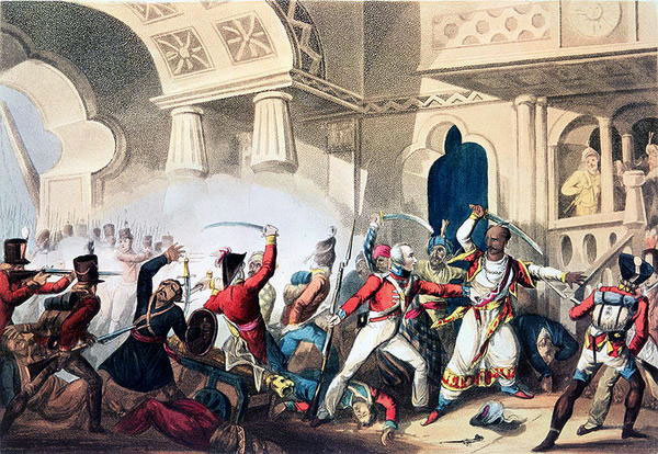 Death of Tipu Sultan during the Storming of Seringapatam on 4th May 1799 in the Fourth Mysore War: picture by William Heath