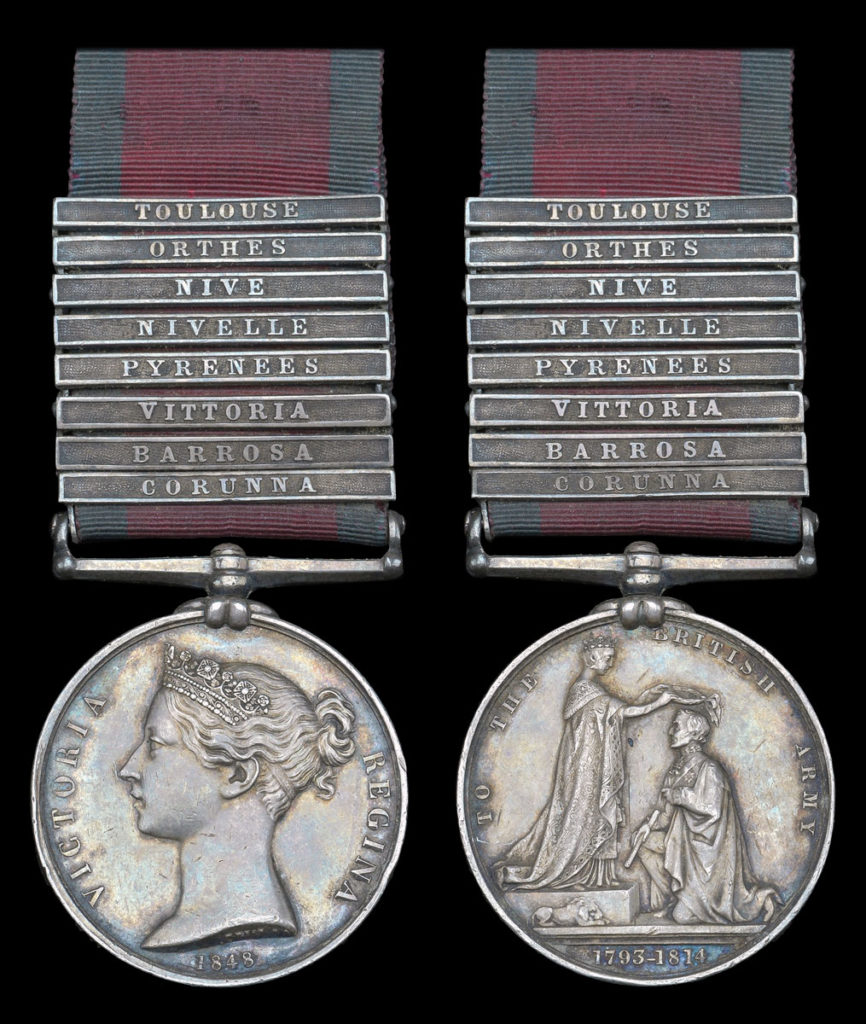 Military General Service Medal 1847 with clasp for the Battle of Toulouse on 10th April 1814 in the Peninsular War