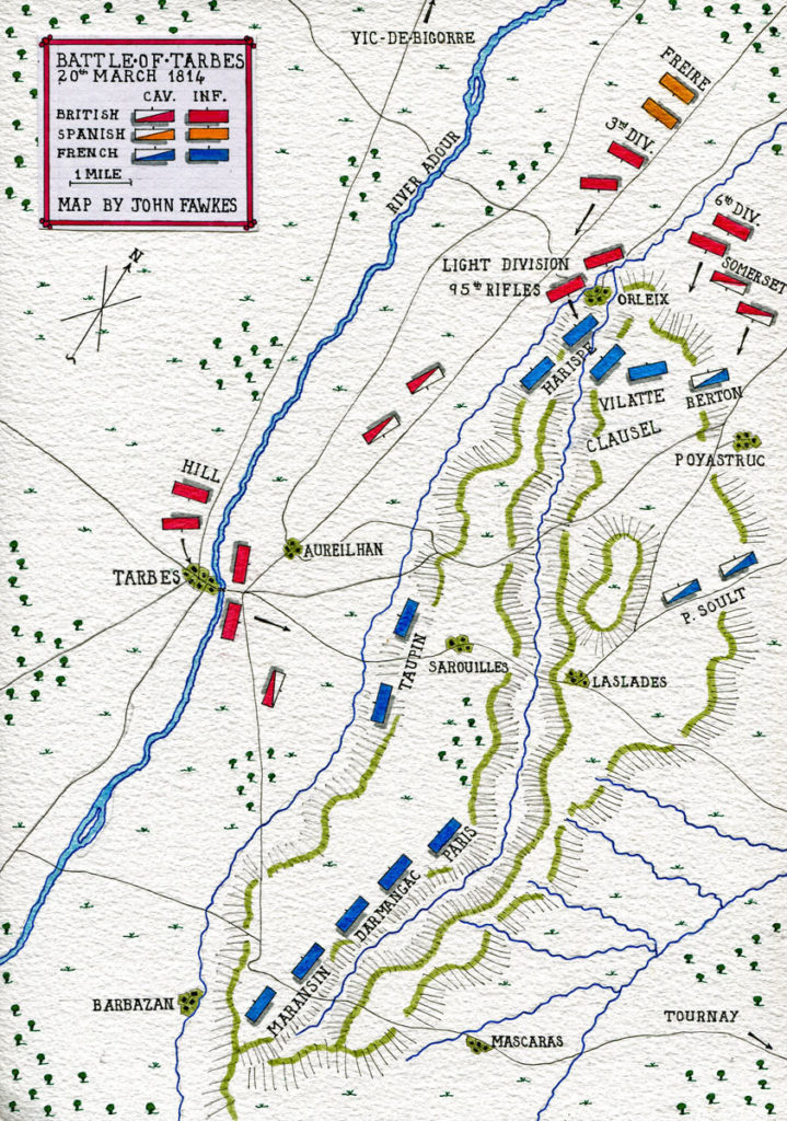 Map of the Battle of Tarbes on 20th March 1814 in the Peninsular War: map by John Fawkes