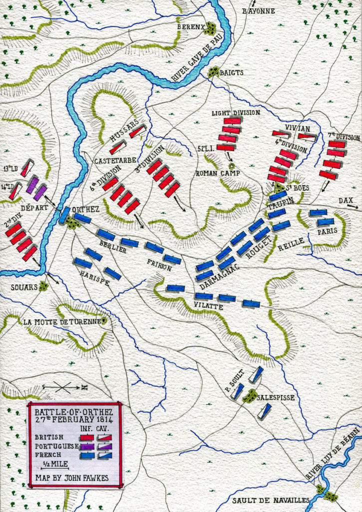 Map of the Battle of Orthez on 27th February 1814 in the Peninsular War: map by John Fawkes