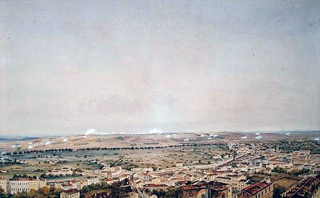Battle of Toulouse on 10th April 1814 in the Peninsular War: picture by Theodore Jung