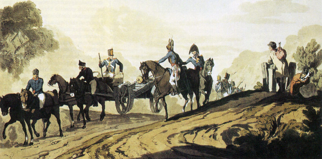 Royal Artillery on the move: Battle of Vimeiro  on 21st August 1808 in the Peninsular War: picture by JJ Atkinson