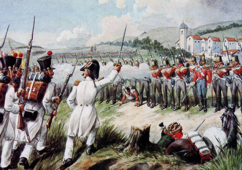 29th Regiment at the Battle of Vimeiro  on 21st August 1808 in the Peninsular War: picture by Richard Simkin