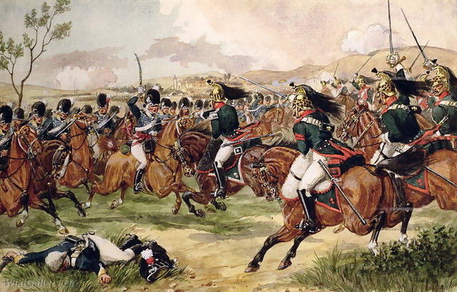 Charge of the 20th Light Dragoons at the Battle of Vimeiro  on 21st August 1808 in the Peninsular War: picture by Richard Simpkin