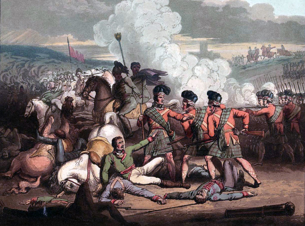 Capture of the French General Brennier by the 71st Highlanders at the Battle of Vimeiro on 21st August 1808 in the Peninsular War: picture by R. Westall