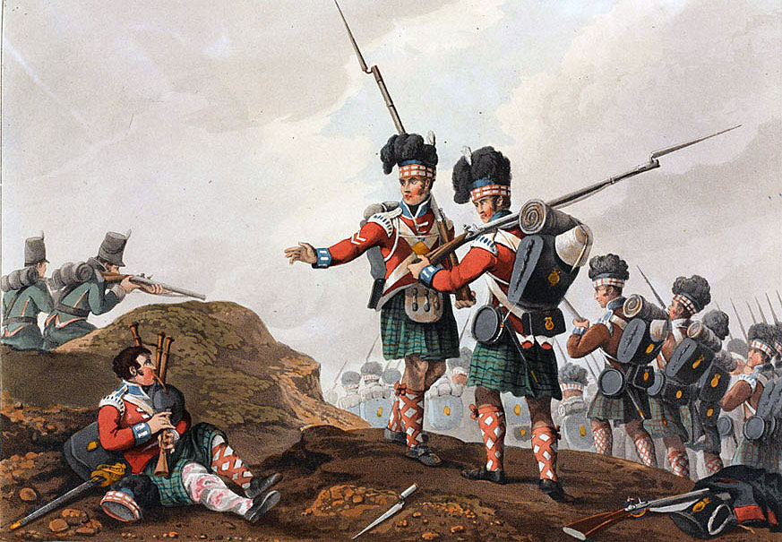 71st Highland Light Infantry and 95th Rifles at the Battle of Vimeiro on 21st August 1808 in the Peninsular War