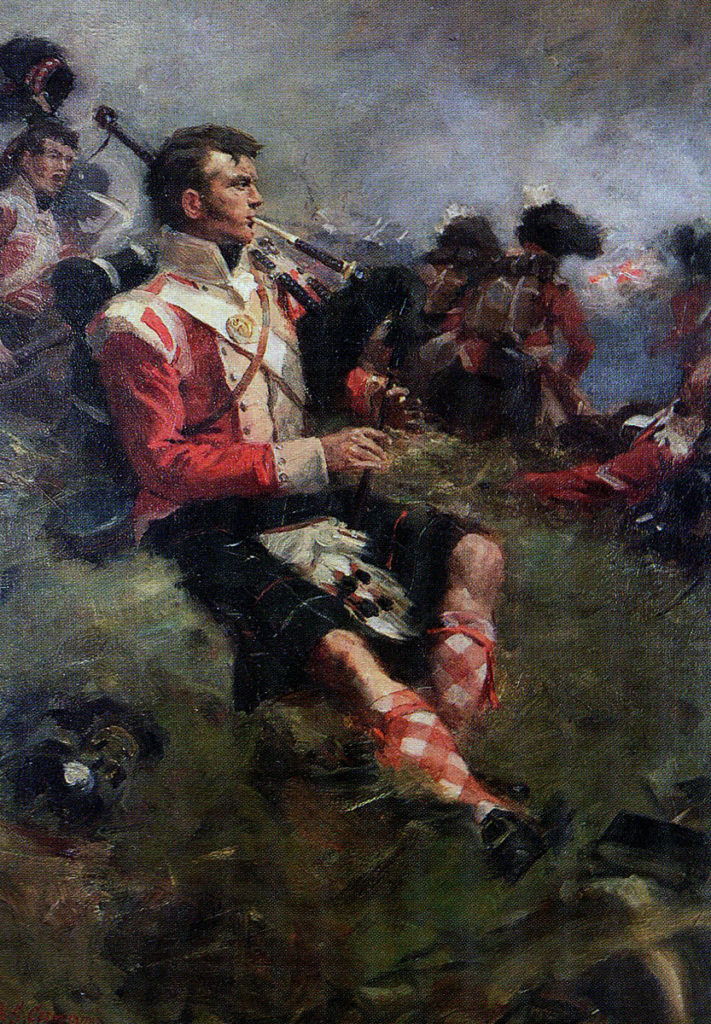 Piper Clarke of 71st Highland Light Infantry at the Battle of Vimeiro on 21st August 1808 in the Peninsular War: picture by William Skeoch Cumming