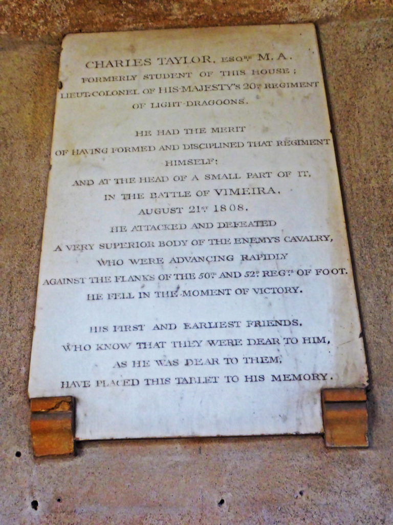 Memorial to Lieutenant Colonel Charles Taylor, killed at the Battle of Vimeiro on 21st August 1808 in the Peninsular War