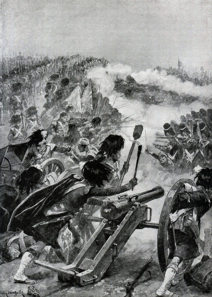 71st Highlanders turning the captured French guns on Brennier's brigade at the Battle of Vimeiro on 21st August 1808 in the Peninsular War: picture by Richard Caton Woodville