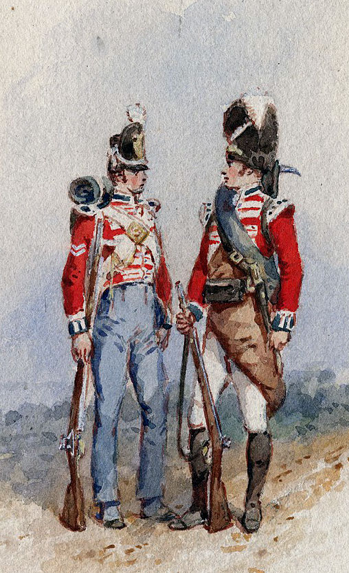 Coldstream Guards: Sortie from Bayonne on 14th April 1814 in the Peninsular War: picture by Richard Simkin
