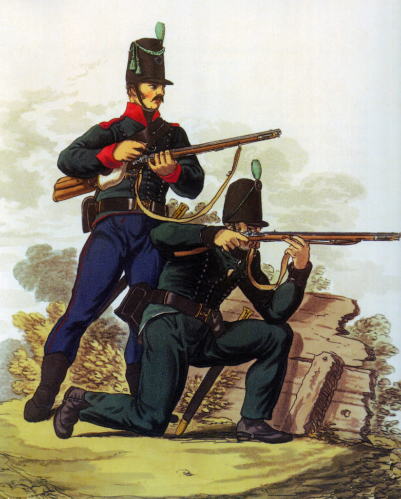 60th and 95th Rifles: Battle of Vimeiro on 21st August 1808 in the Peninsular War: picture by Hamilton Smith