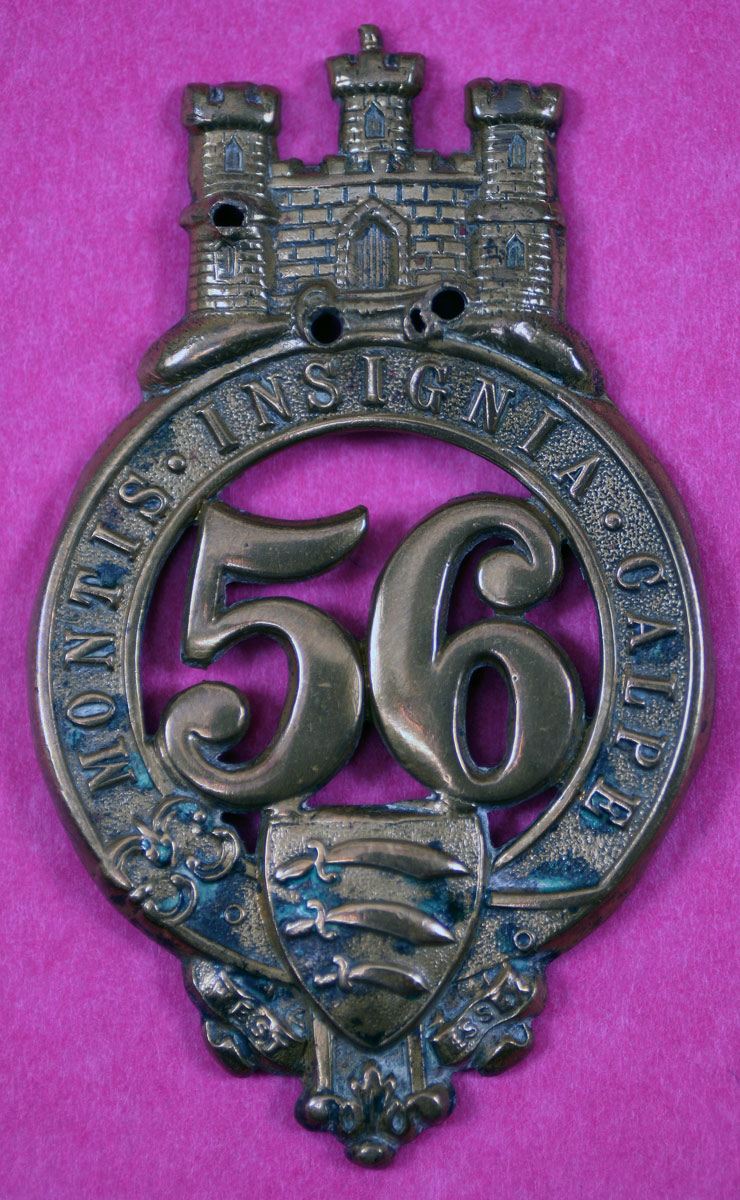 Badge of the 56th Regiment with the 'Castle and Key' and the motto 'Montis Insignia Calpe'   from the 'Great Siege of Gibraltar from 1779 to 1783 during the American Revolutionary War