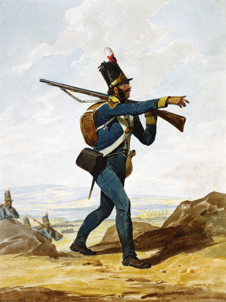 Portuguese Infantryman: Battle of Vimeiro on 21st August 1808 in the Peninsular War: picture by Denis Dighton