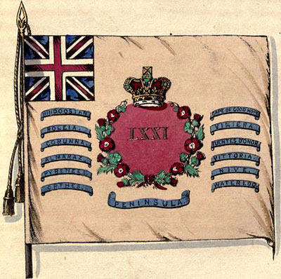 Regimental Colour of the 71st Regiment showing the Battle Honour of the Battle of Roleia or Roliça on 17th August 1808 in the Peninsular War