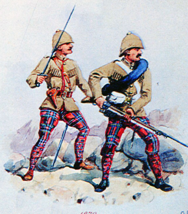 72nd Highlanders at the Battle of Charasiab on 9th October 1879 in the Second Afghan War: picture by Richard Simkin