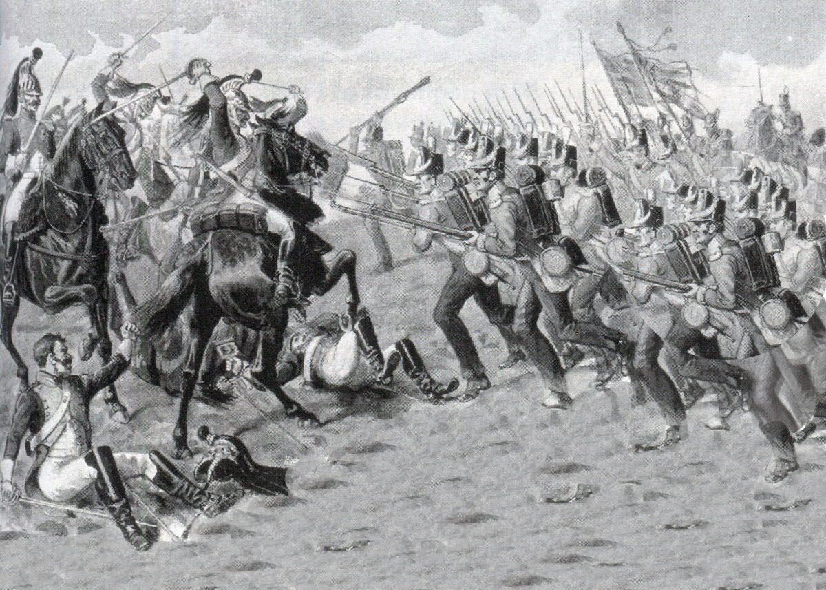 77th Regiment at the Battle of El Bodon on 25th September 1811 in the Peninsular War: pictures by Richard Simkin
