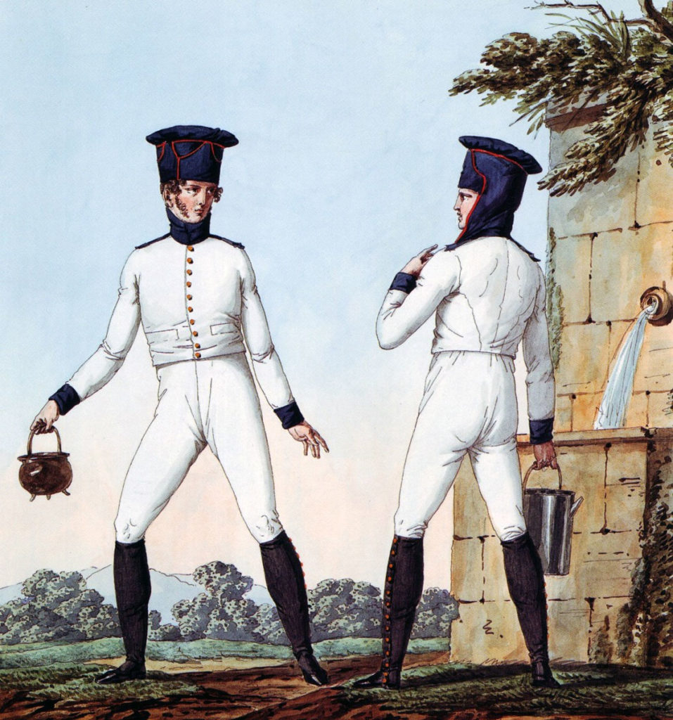 French Line Infantry in linen fatigues: Battle of Vimeiro  on 21st August 1808 in the Peninsular War: picture by Vernet