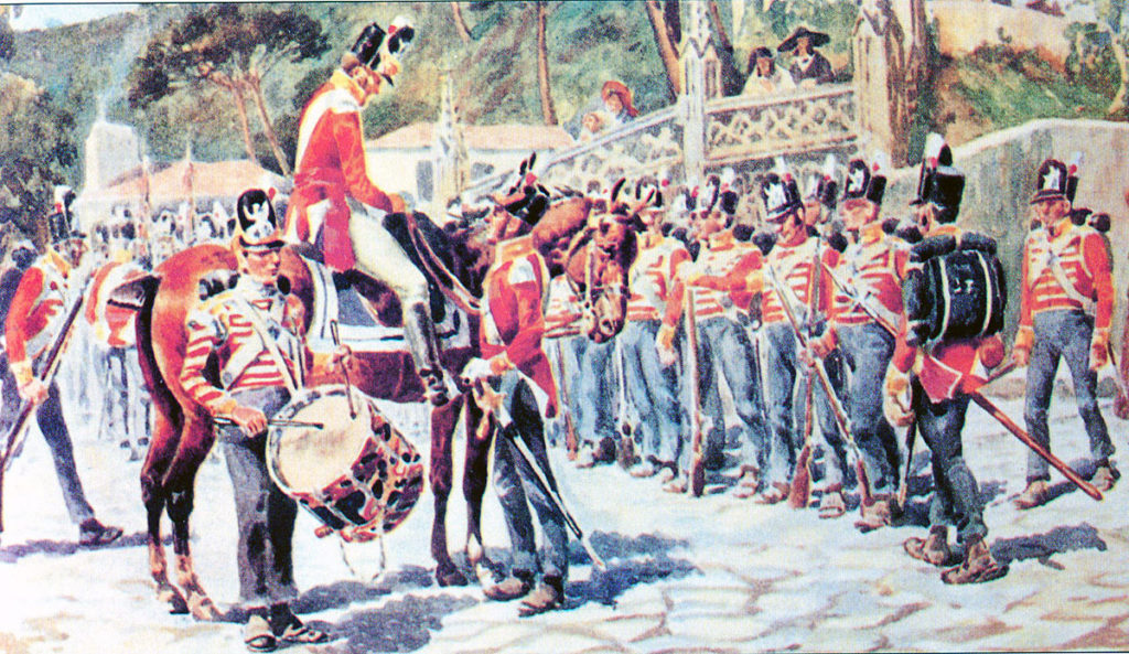 British 9th Regiment before the Battle of Roliça on 17th August 1808 in the Peninsular War