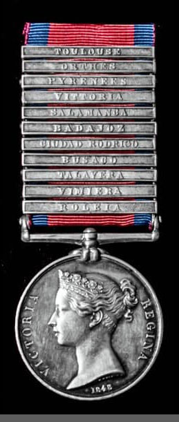 Military General Service Medal 1848 with 11 clasps for battles of the Peninsular War (including the first and last battles of the war) awarded to Private Charles Billington of the 40th Regiment: Peninsular War
