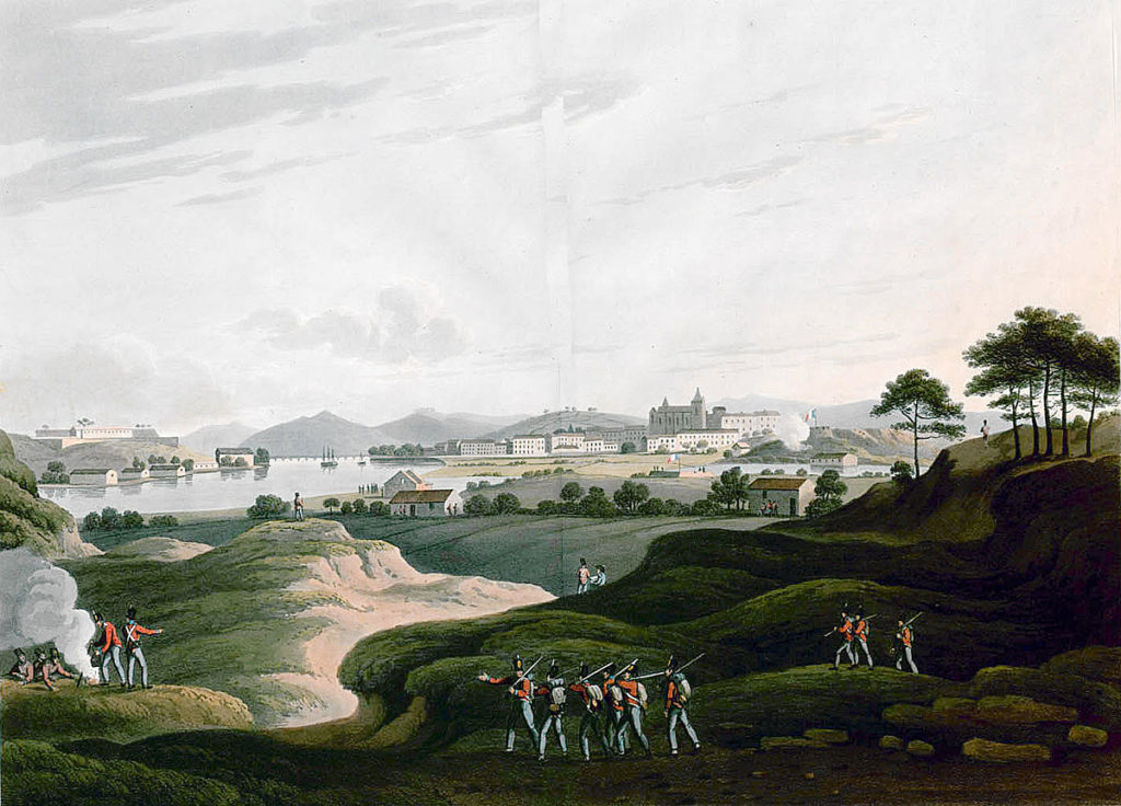 View of Bayonne from the south bank of the River Adour: Sortie from Bayonne on 14th April 1814 in the Peninsular War: the Citadel is in the left background