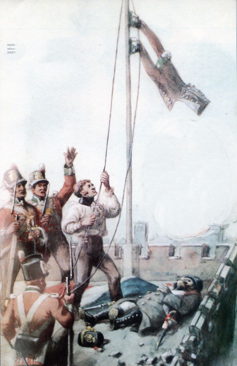Lieutenant Macpherson of the 45th Regiment hoisting his jacket at the Storming of Badajoz on 6th April 1812 in the Peninsular War: picture by Richard Simkin
