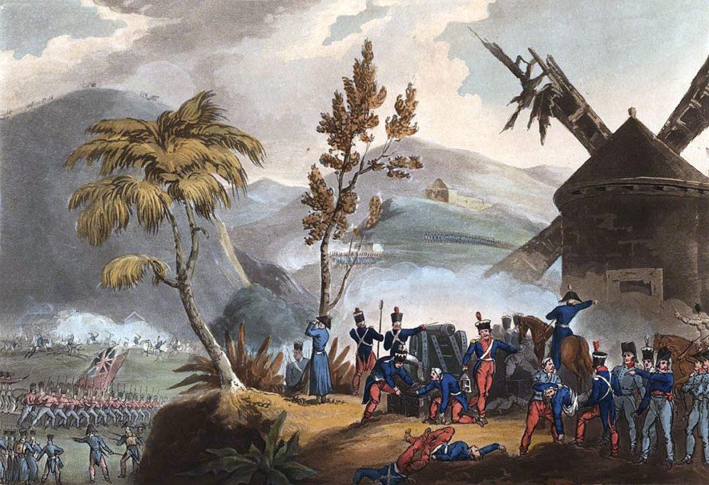 Battle of Roliça on 17th August 1808 in the Peninsular War: picture by J.J. Jenkins
