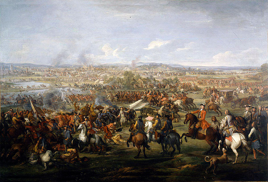 Marlborough's cavalry attacks: Battle of Blenheim 2nd August 1704 in the War of the Spanish Succession: picture by John Wootton
