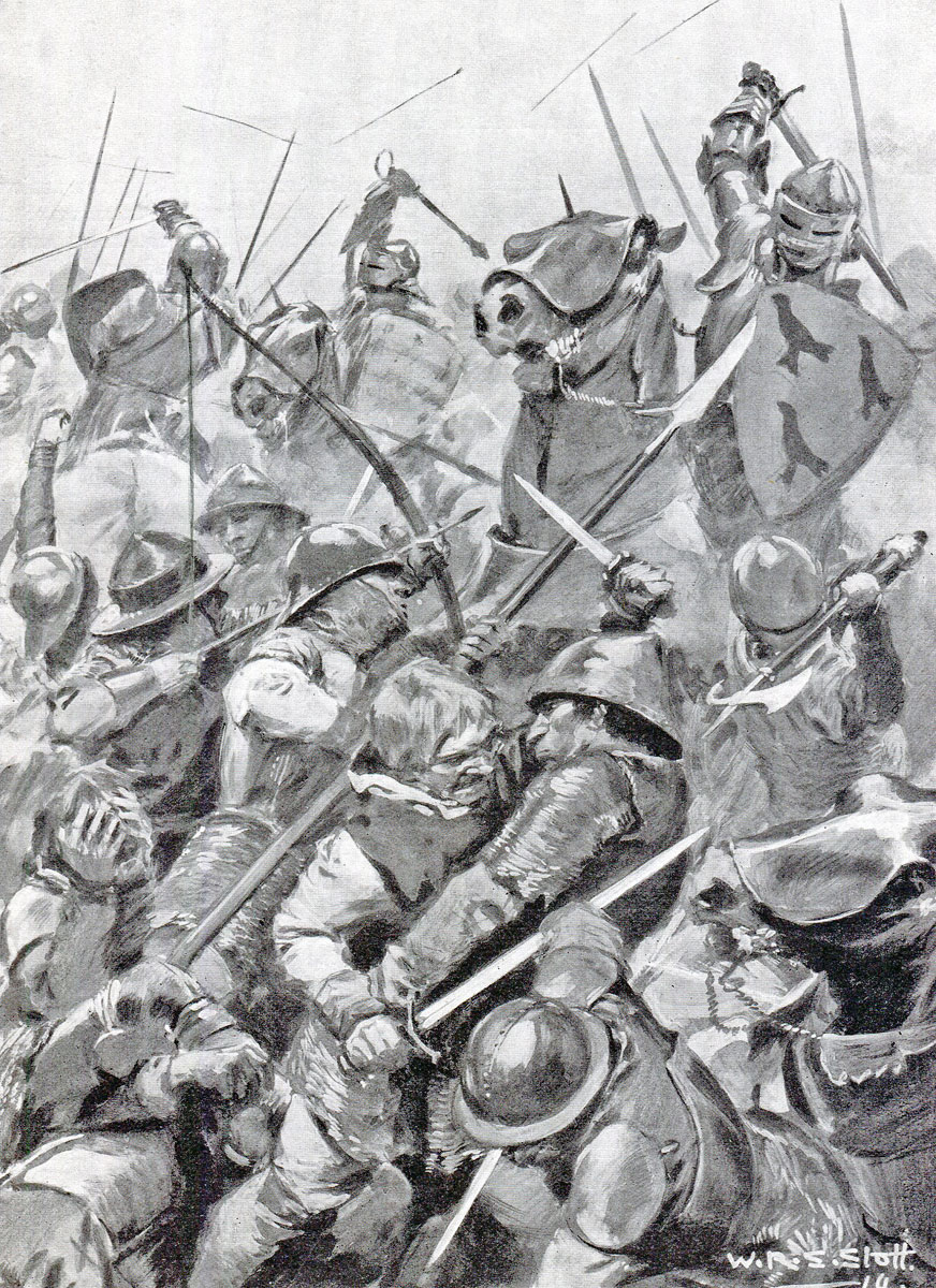 Battle of Bosworth Field on 22nd August 1485 in the Wars of the Roses: picture by WRS Stott
