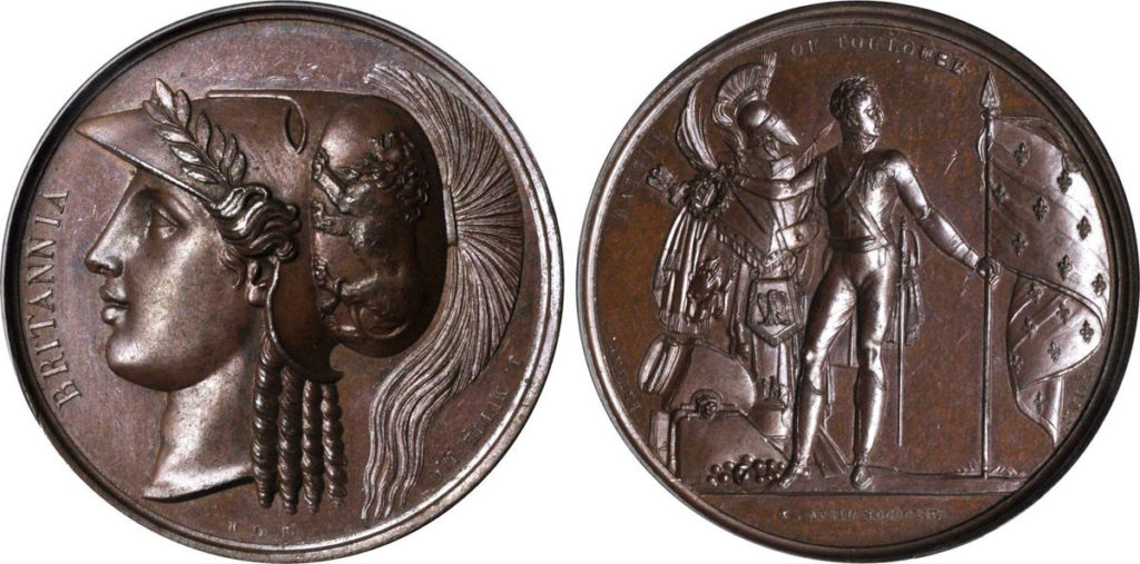Bronze Medal issued in London commemorating the Battle of Toulouse on 10th April 1814 in the Peninsular War